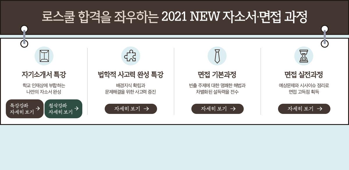 로스쿨 합격을 좌우하는 2021 NEW 자소서·면접 과정