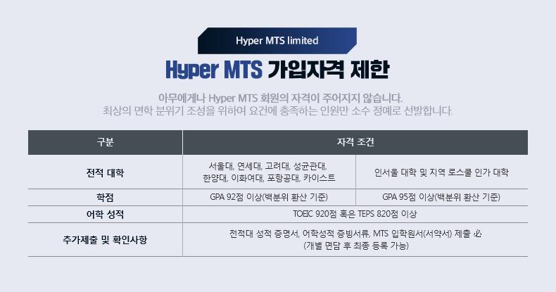 Hyper MTS 가입자격 제한
