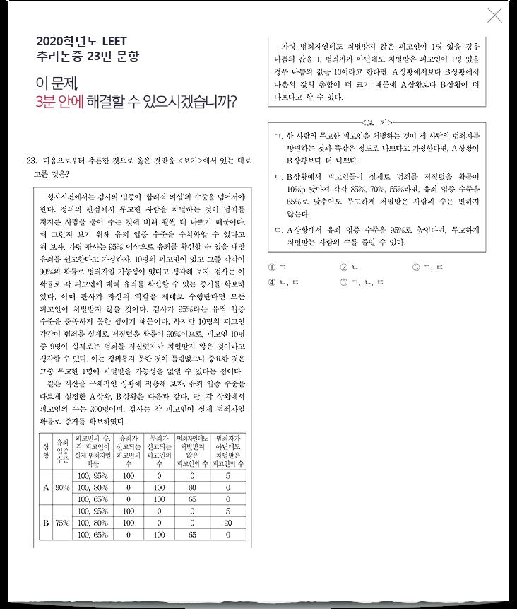 2019학년도 LEET 추리논증 27번 문항