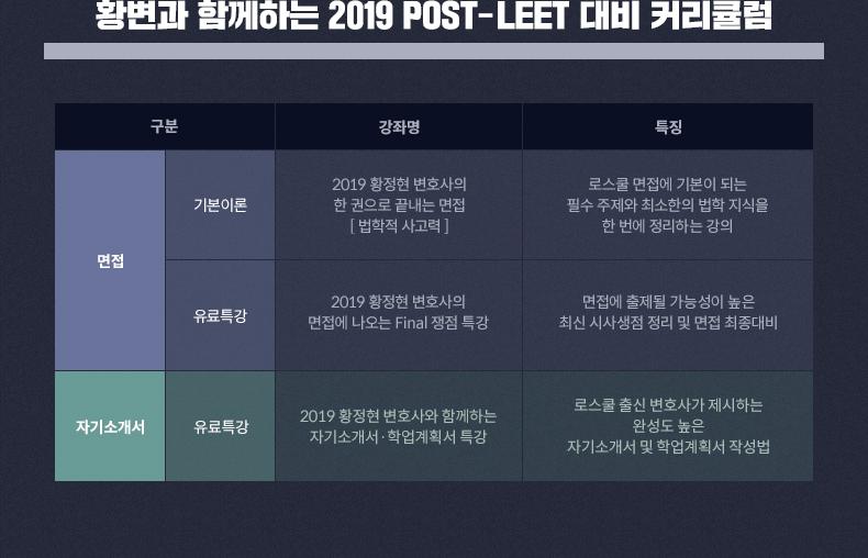 황변과 함께하는 2019 POST-LEET 대비 커리큘럼